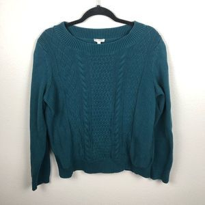 Talbots cable mixed knit long sleeve sweater